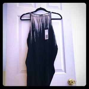 NWT Black/beige ombré symmetrical hem line dress